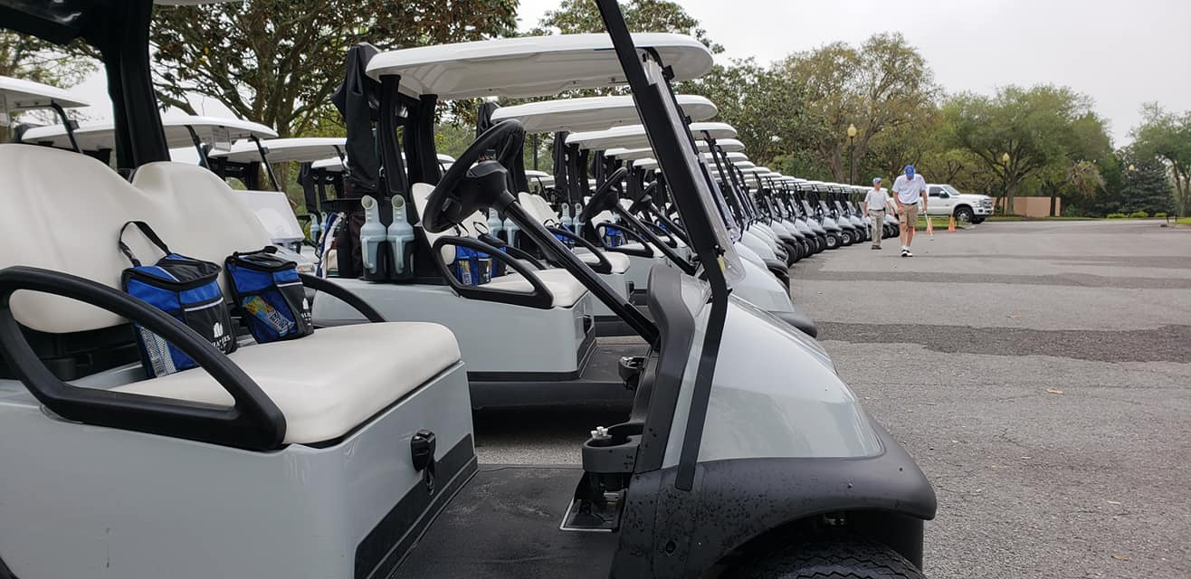 golf carts lined up for tournament at black diamond ranch